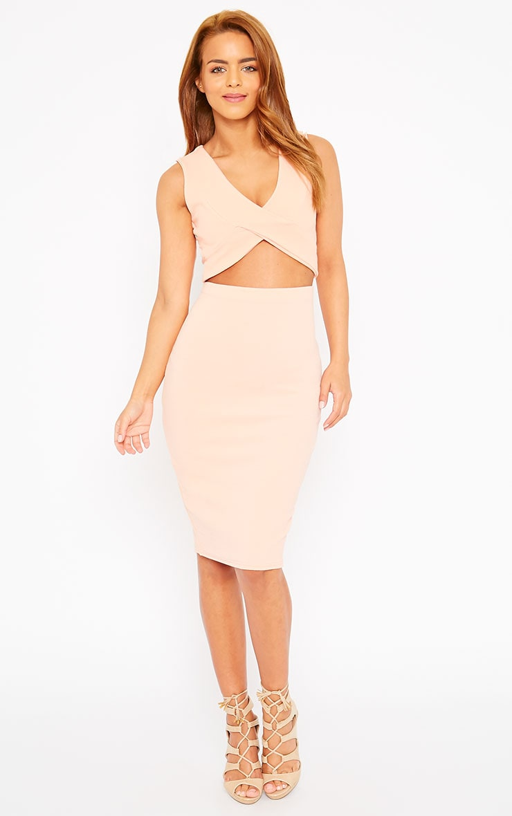Tess Nude Crepe Cross Front Crop Top 4