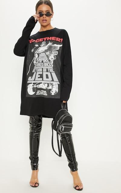 Black Star Wars Oversized Long Sleeve T Shirt Dress