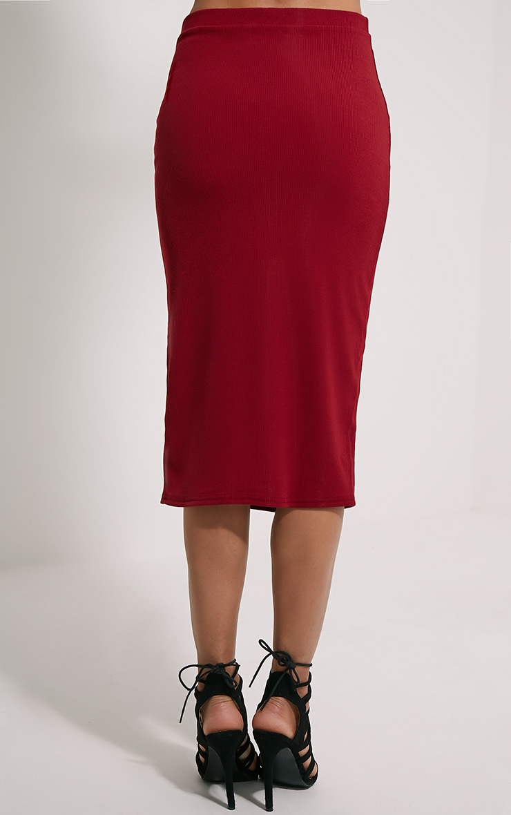 Basic Burgundy Ribbed Midi Skirt 3