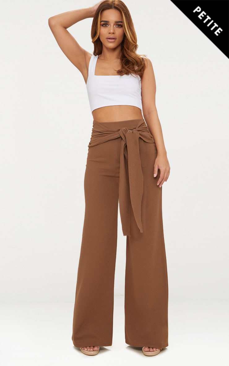 Petite Brown Tie Front Wide Leg Trousers