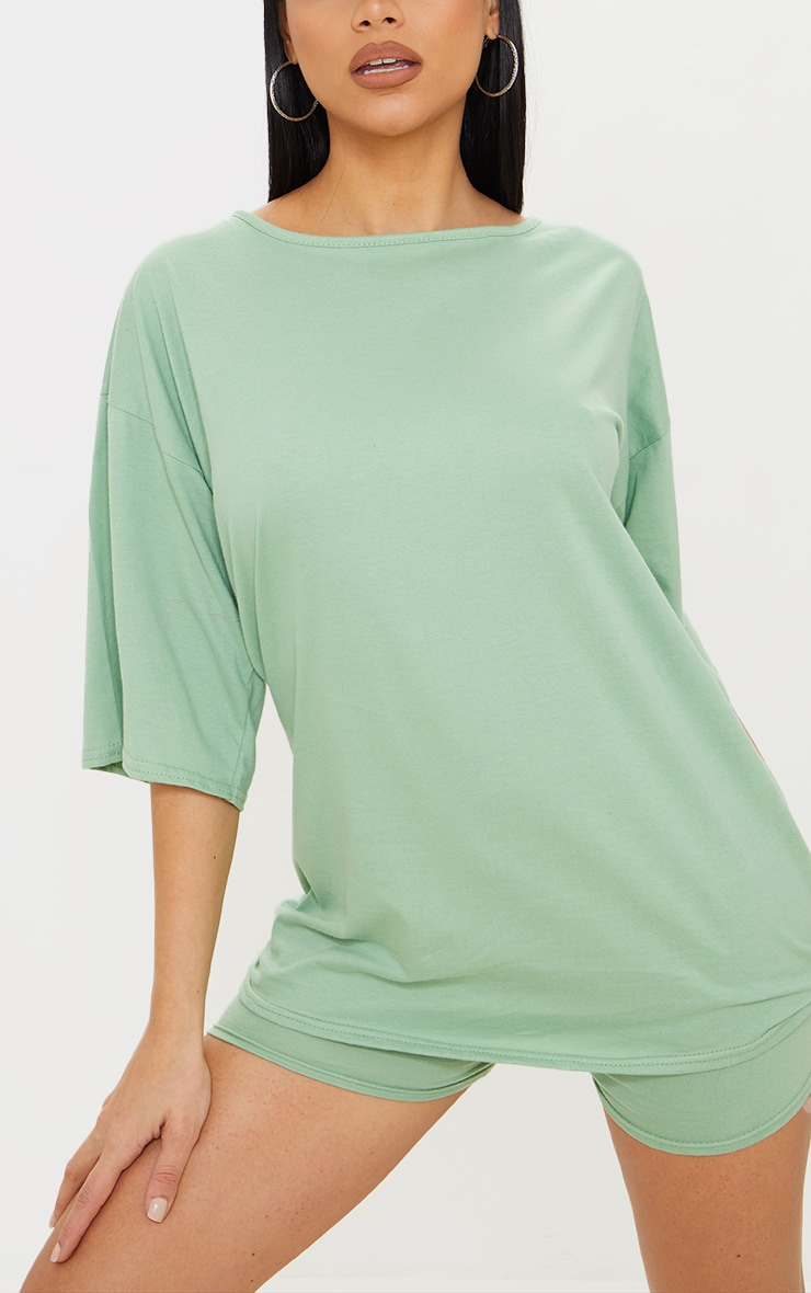 Sage Green Cotton Oversized T-Shirt & Hot Pants Set 4