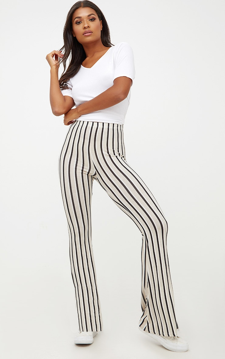 Stone Jersey Pinstripe Flared Trousers 1