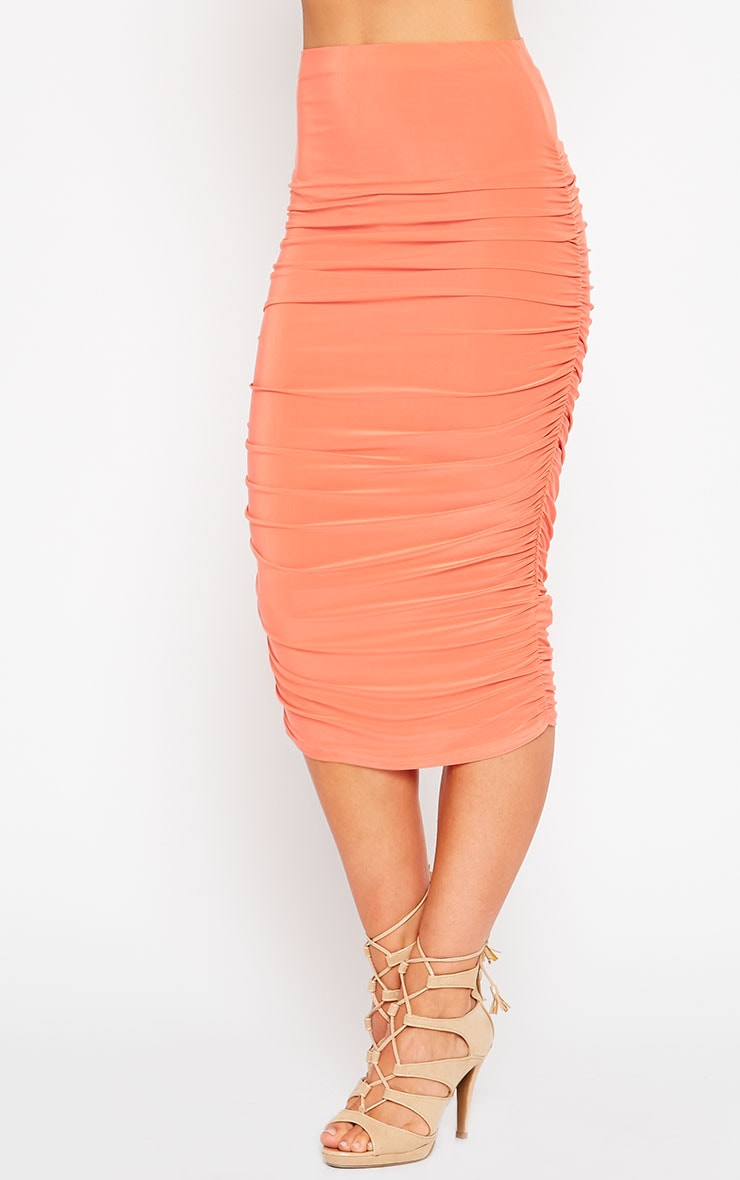 Saylor Orange Slinky Gathered Midi Skirt 3