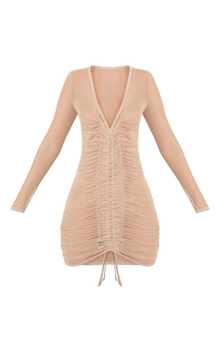 Lianna Nude Mesh Ruched Bodycon Dress 3