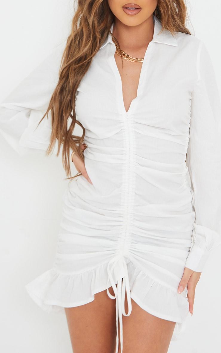 White Long Sleeve Ruched Frill Hem Shirt Dress 4