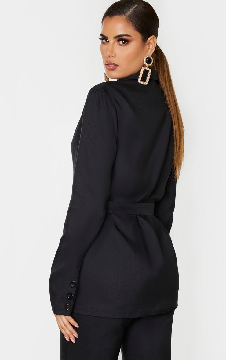 Tall Black Tie Waist Button Up Blazer 2