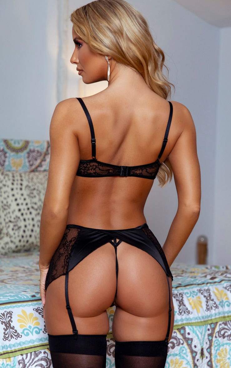 Black Floral Lace And Satin G-String 2