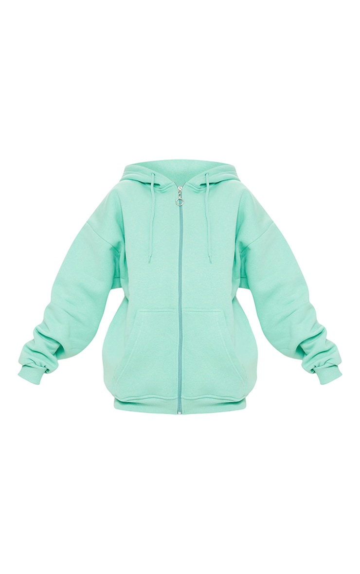 Petite Green Extreme Oversized Pocket Front Zip Through Hoodie 5