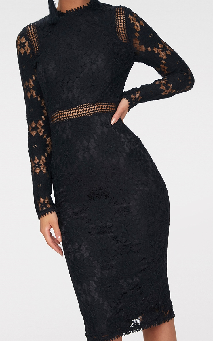 Caris Black Long Sleeve Lace Bodycon Dress 4