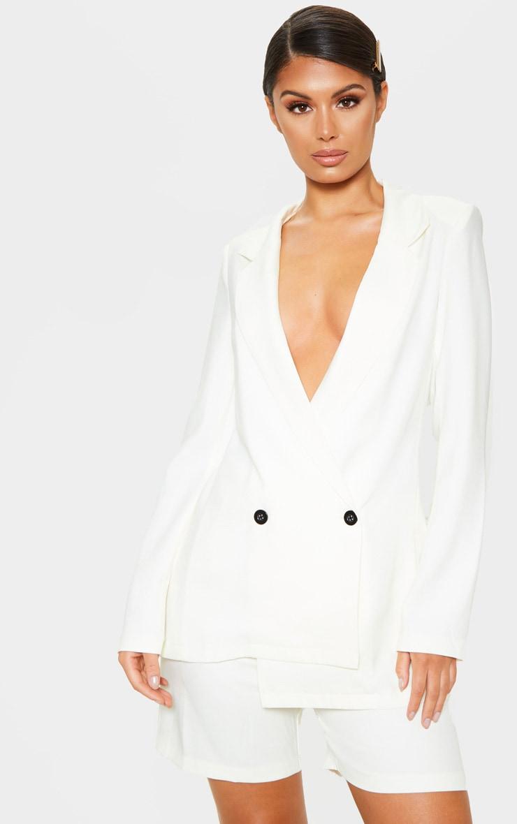 White Oversized Boyfriend Woven Blazer 2