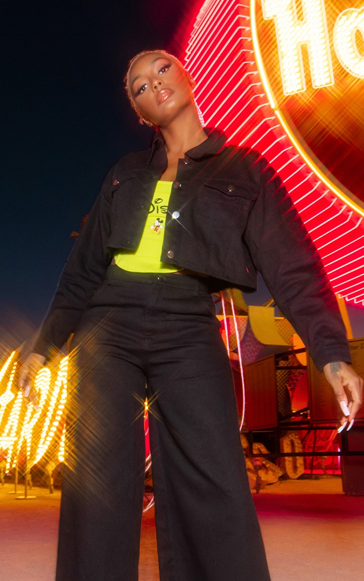 Black Disney Mickey Crop Denim Jacket 2