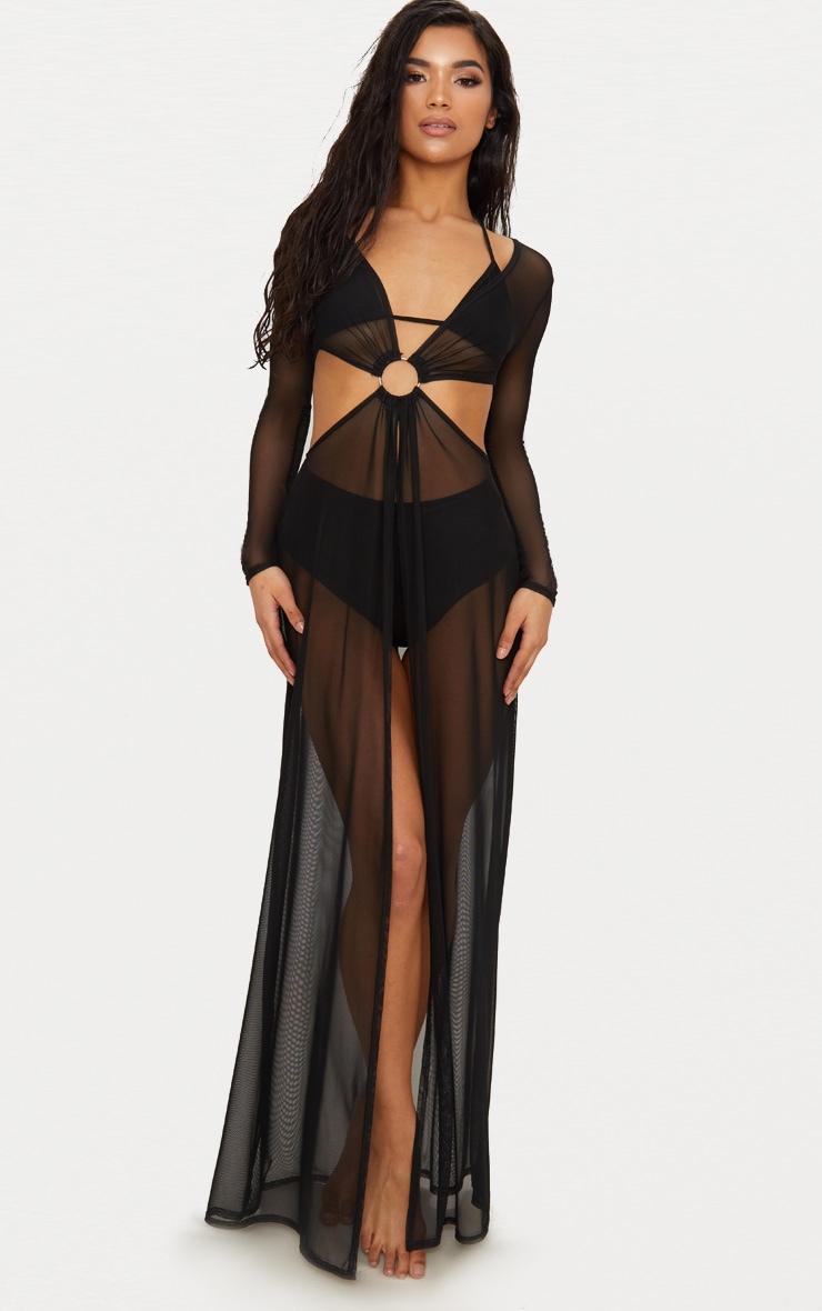 Black Ring Detail Cut Out Mesh Beach Dress 1