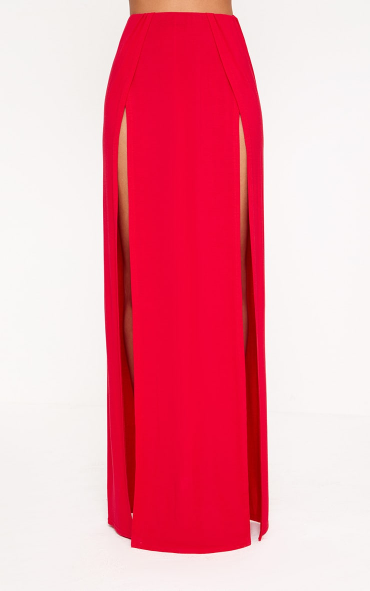 Red Double Split Maxi Skirt  2