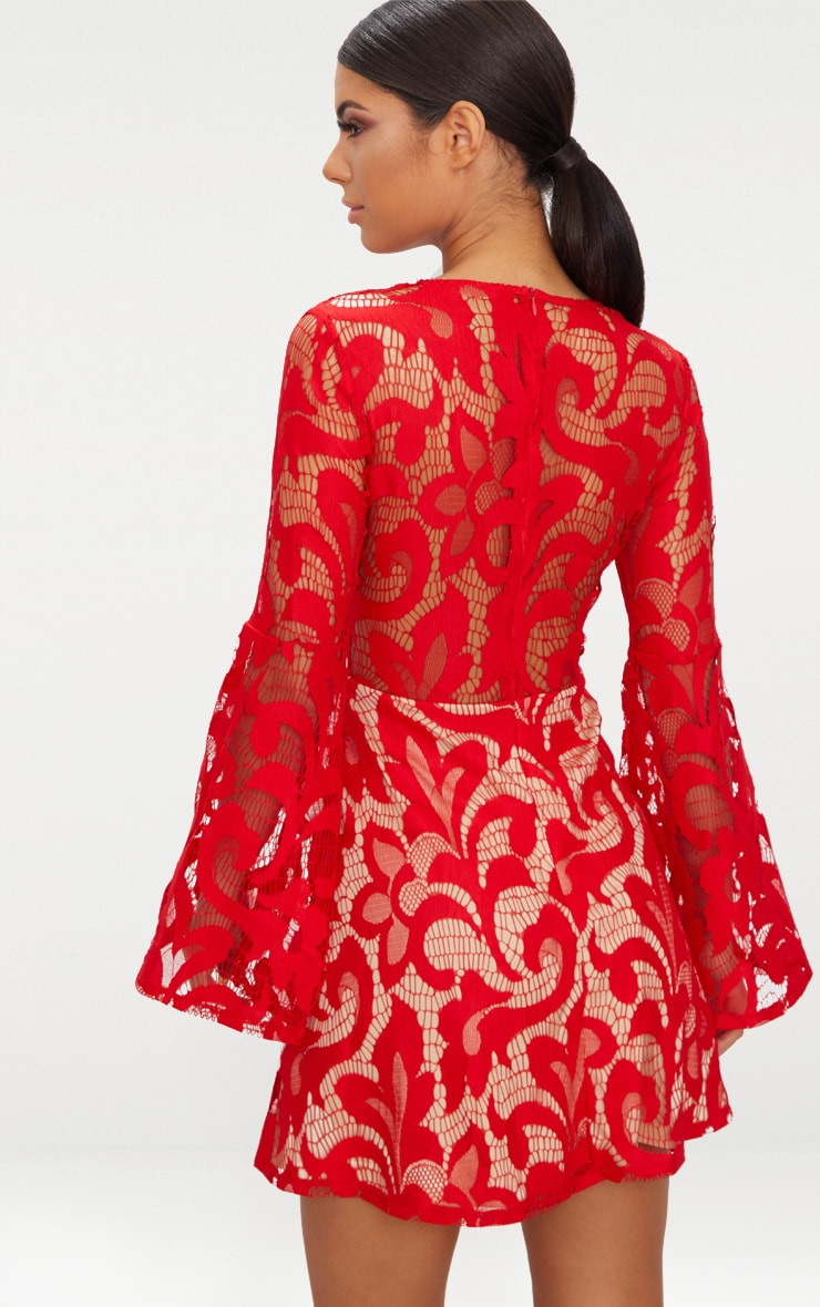Red Flare Sleeve Lace Skater Dress 2