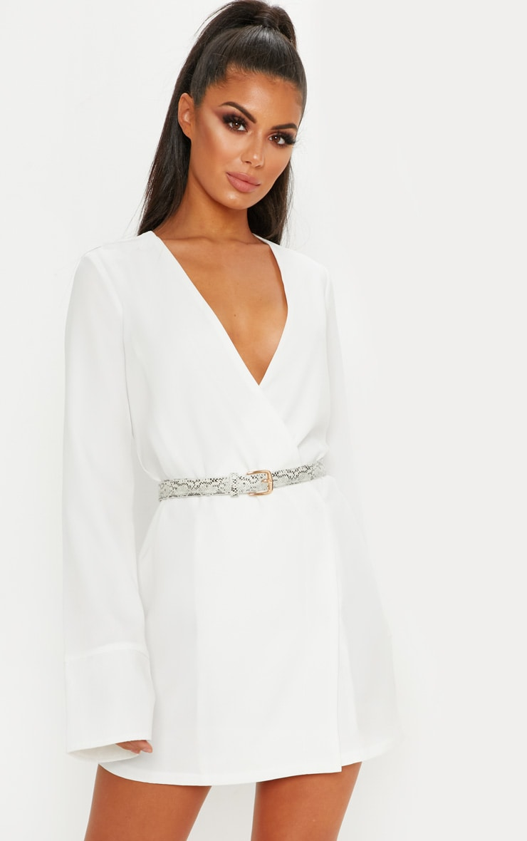 White Plunge Flare Sleeve Blazer Dress 1