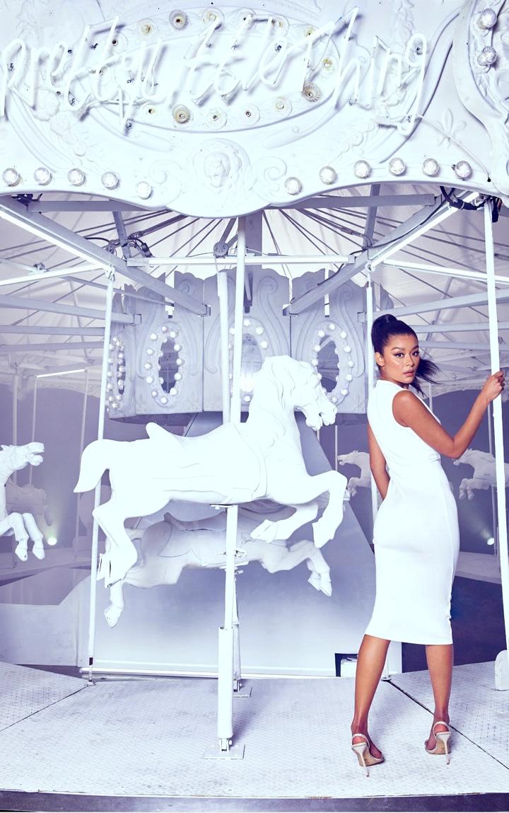 White Plunge Strap Midi Dress 2