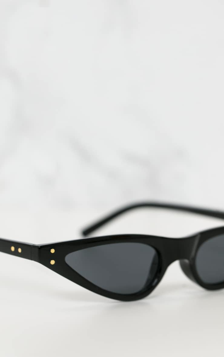 Black Small Cat Eye Skinny Sunglasses 4
