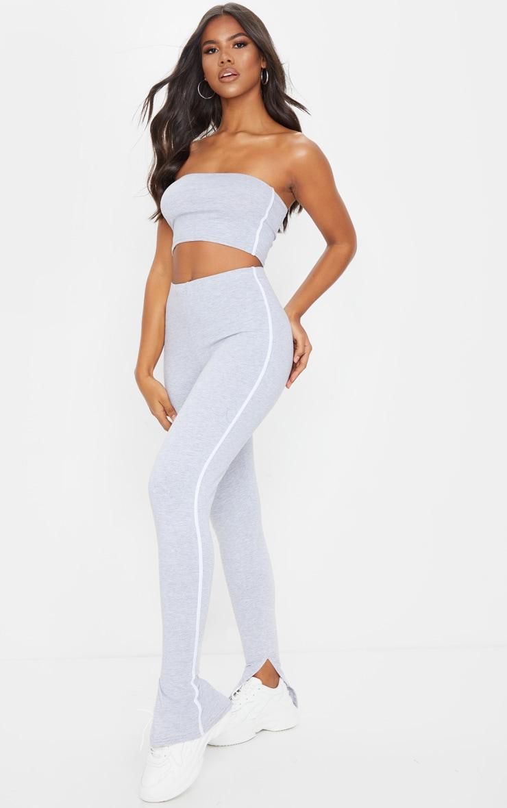 Grey Sports Stripe High Waisted Split Hem Pants 1