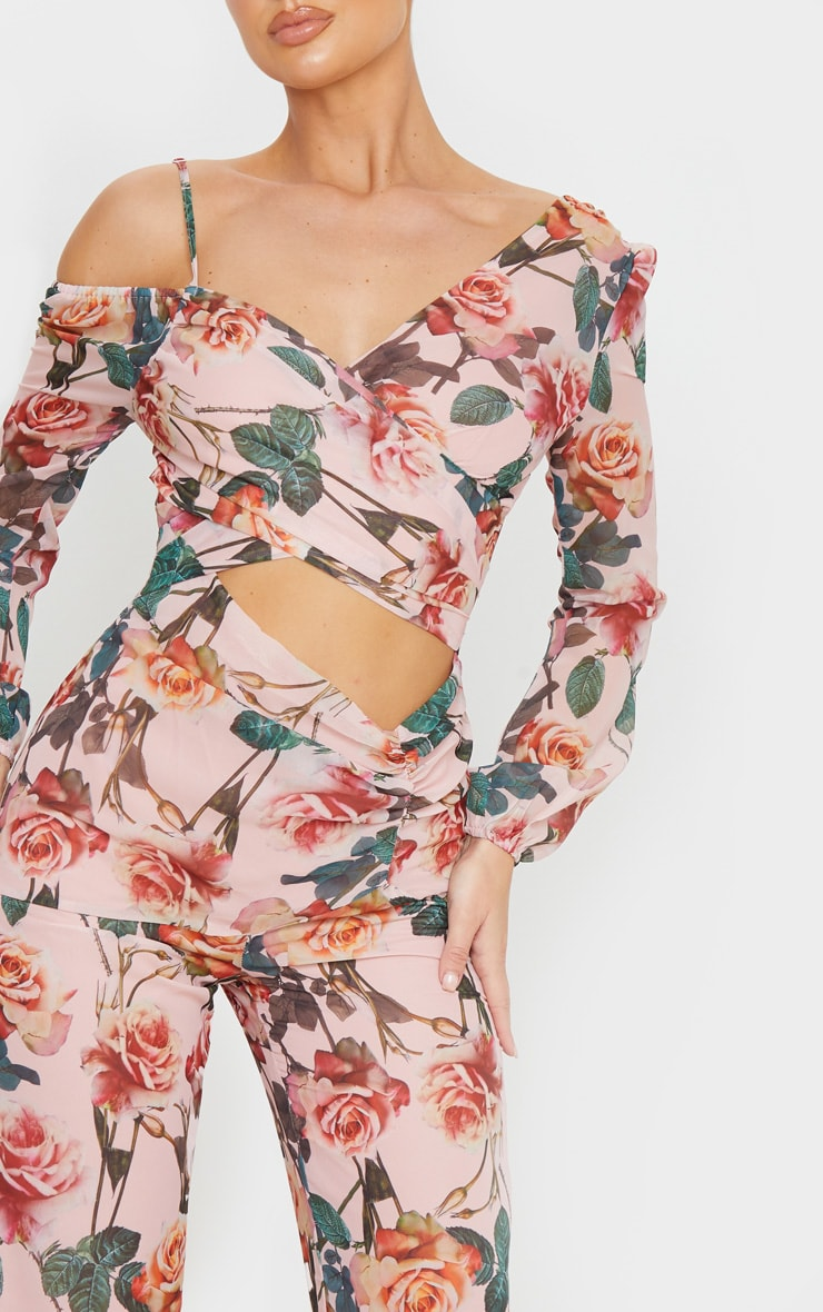 Pink Rose Print Chiffon Cut Out Jumpsuit 5