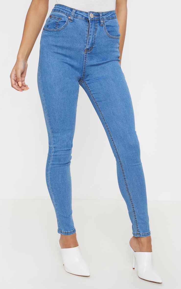 Mid Wash High Waist 5 Pocket Skinny Jean 2