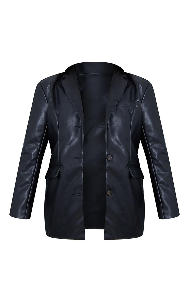 Black Premium Faux Leather Shoulder Padded Grandad Blazer 5