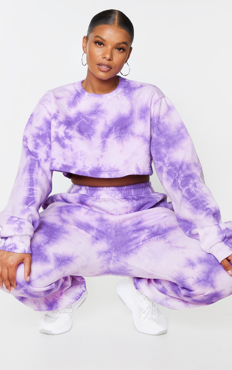 Plus Violet Tie Dye Extreme Cropped Sweater 1