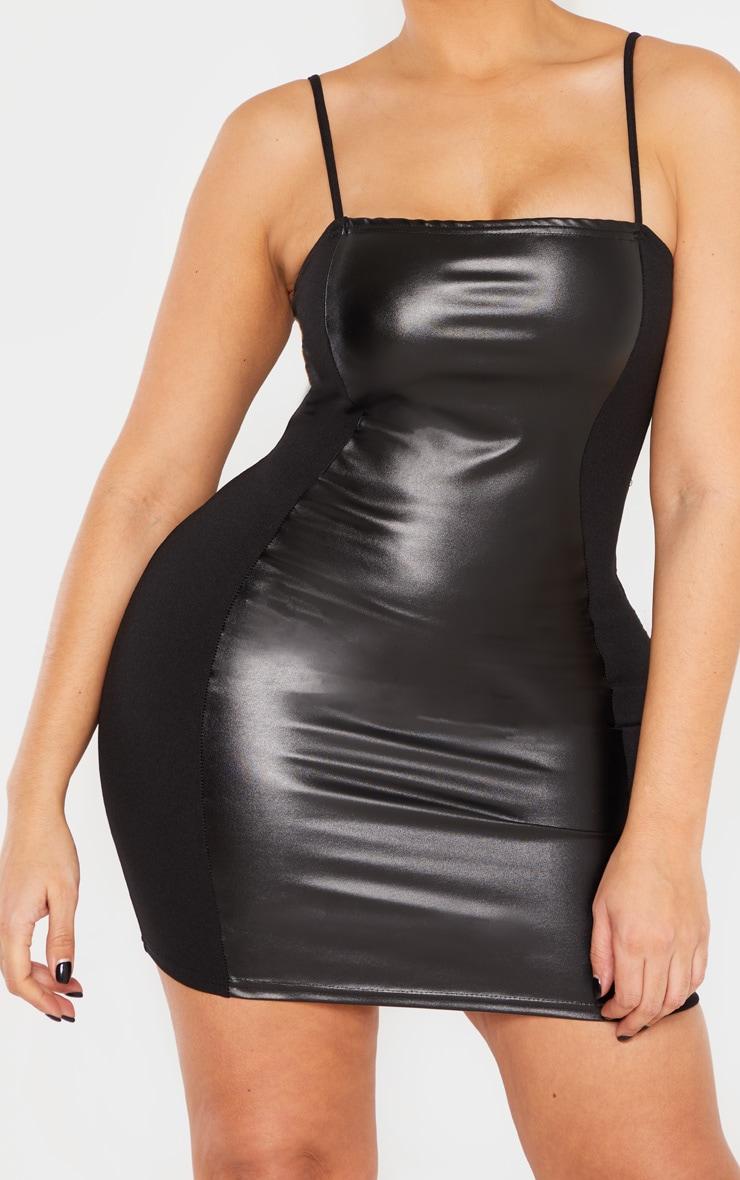 Shape Black PU Panel Bodycon Dress 6