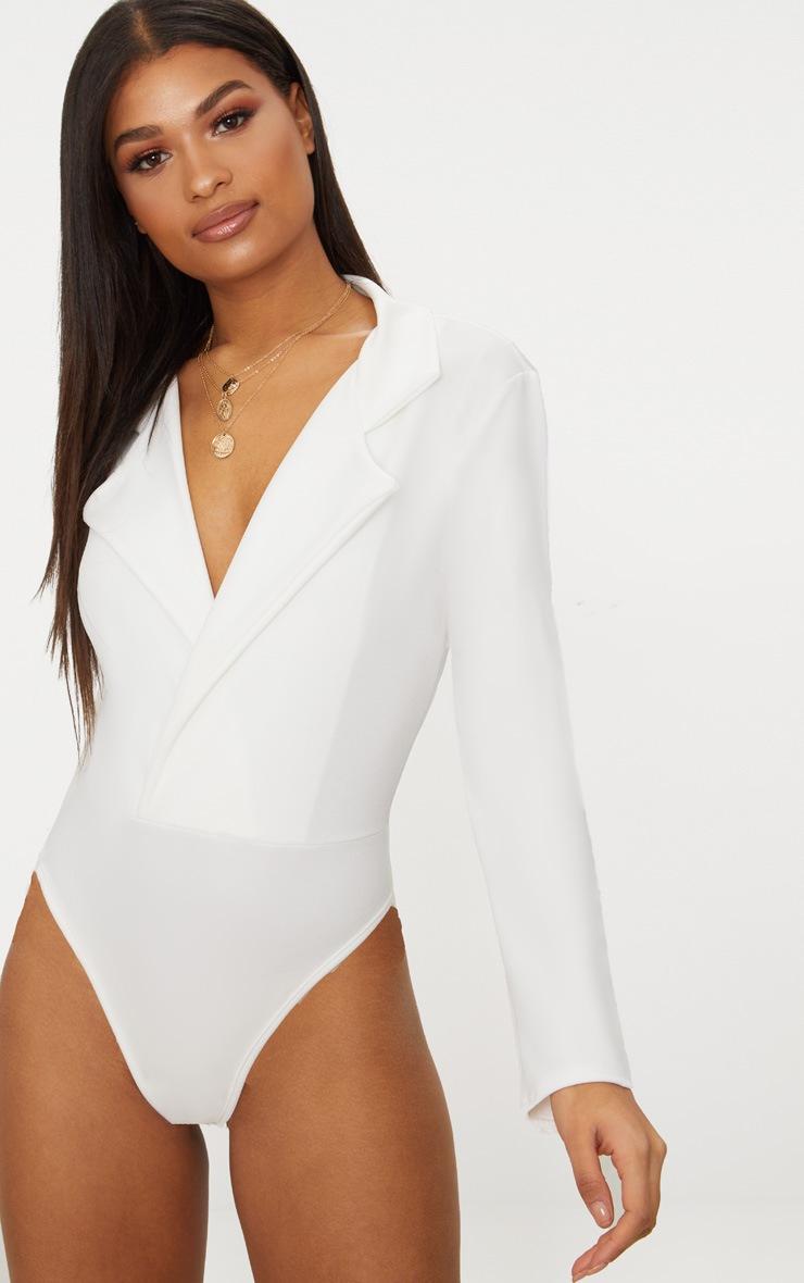 White Crepe Tux Blazer Thong Bodysuit  2