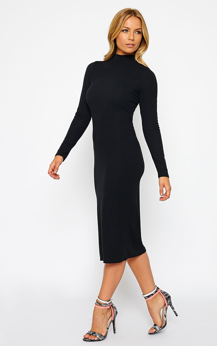 Basic Black Ribbed Turtle Neck Midi Dress 3