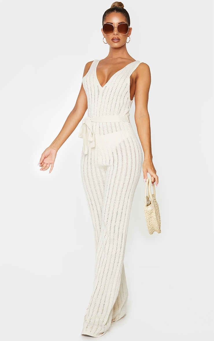 Cream Crochet Knitted Belted Jumpsuit 3