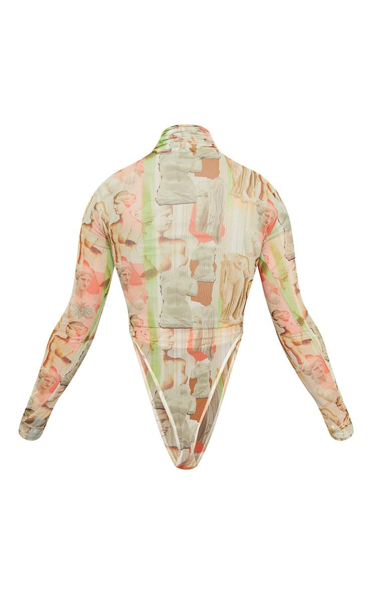 Body très échancré en mesh multicolore imprimé statue à col montant 6