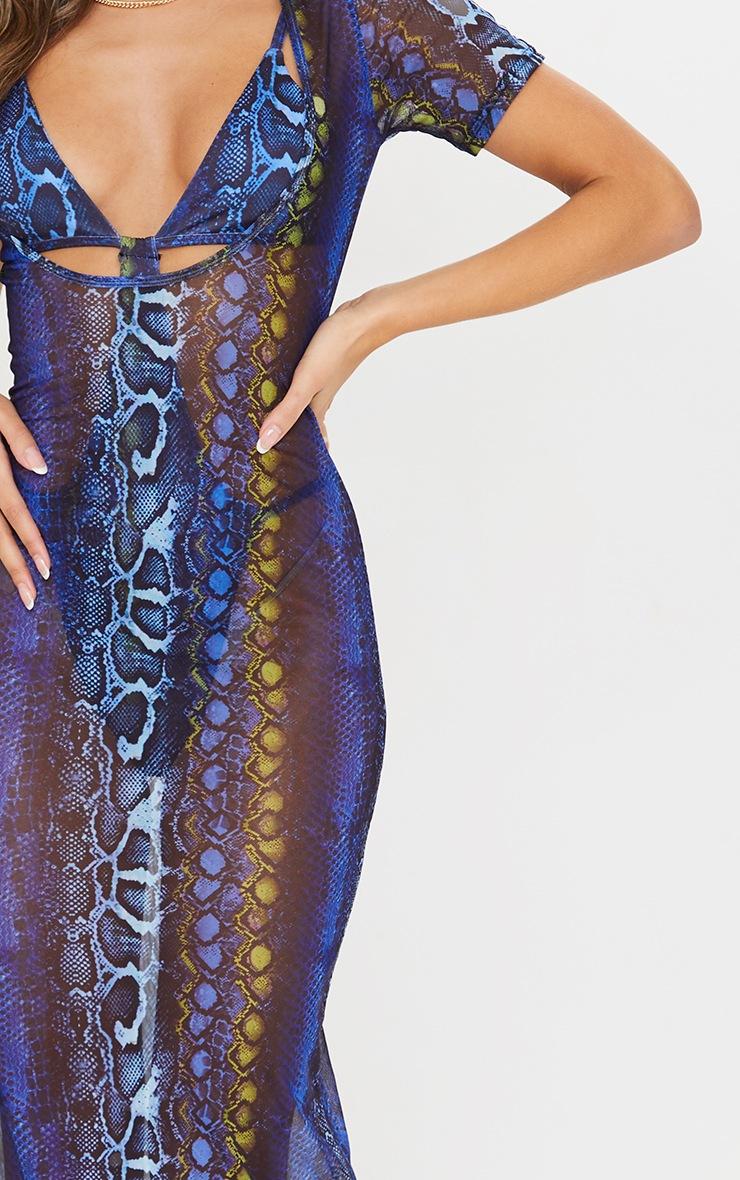 Blue Snake Scoop Neck Mesh Maxi Dress 4