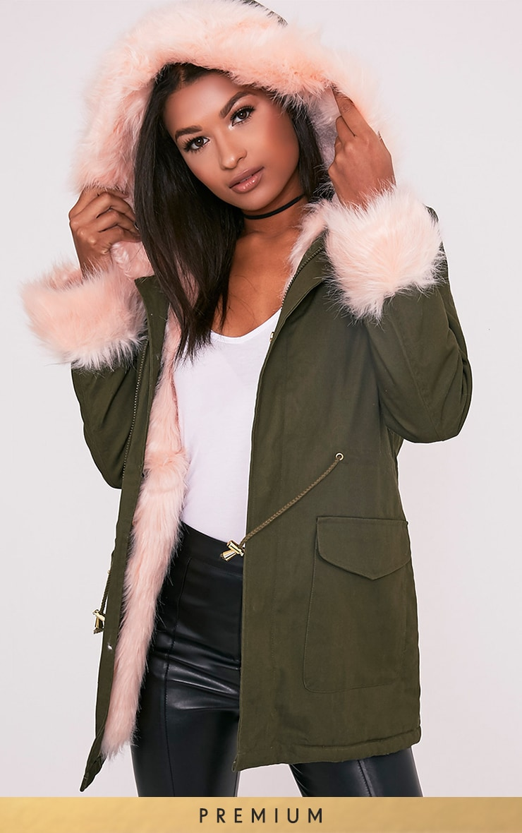 Neena Baby Pink Faux Fur Lined Parka 1