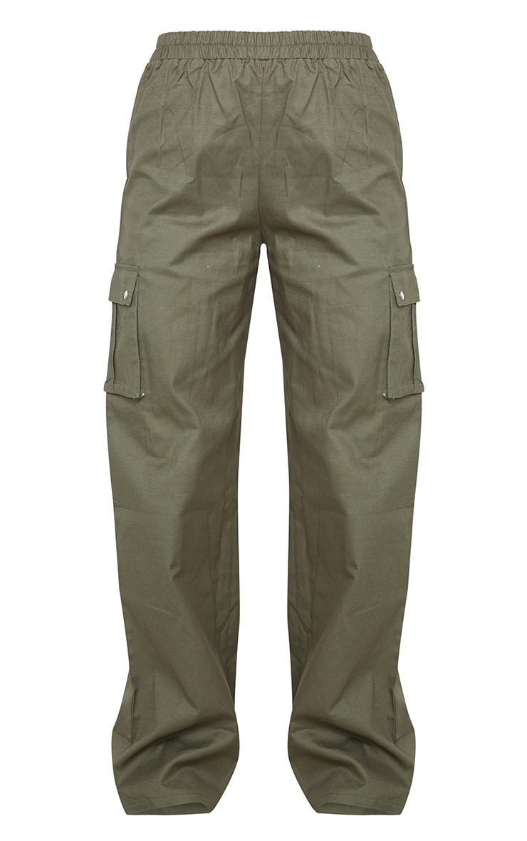 Khaki Wide Leg Cargo Pants 5