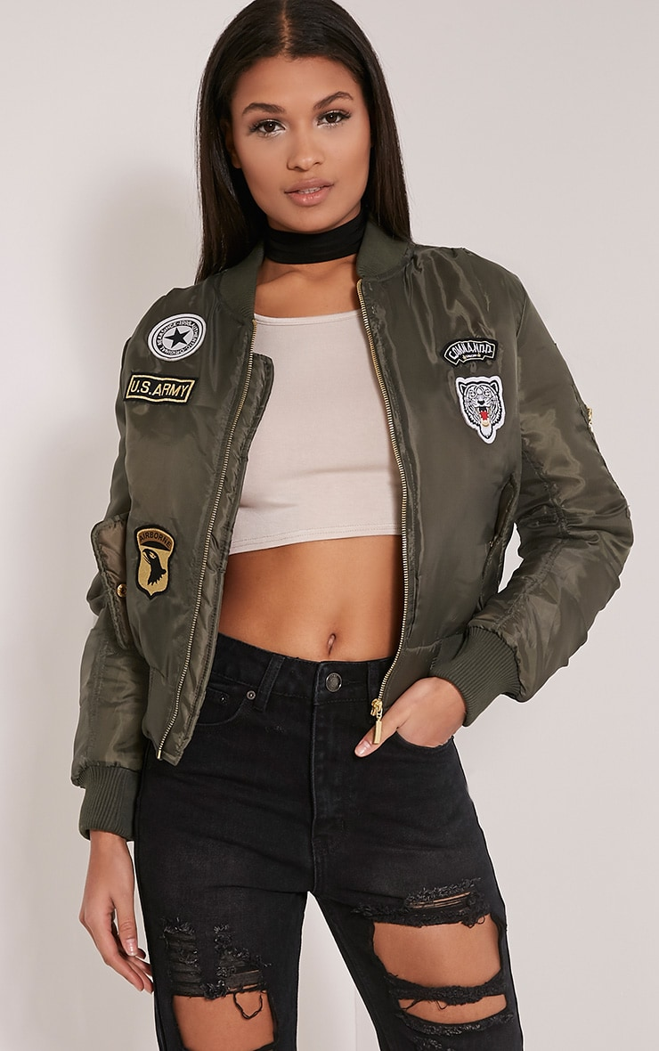 Joya Khaki Utility Badge Bomber Jacket 1