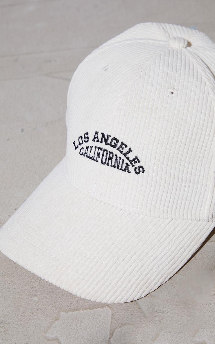 Cream Los Angeles Cord Baseball Cap 4