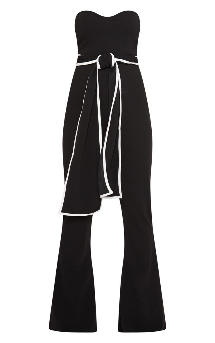 Black Bandeau Binded Tie Waist Detail Jumpsuit 3