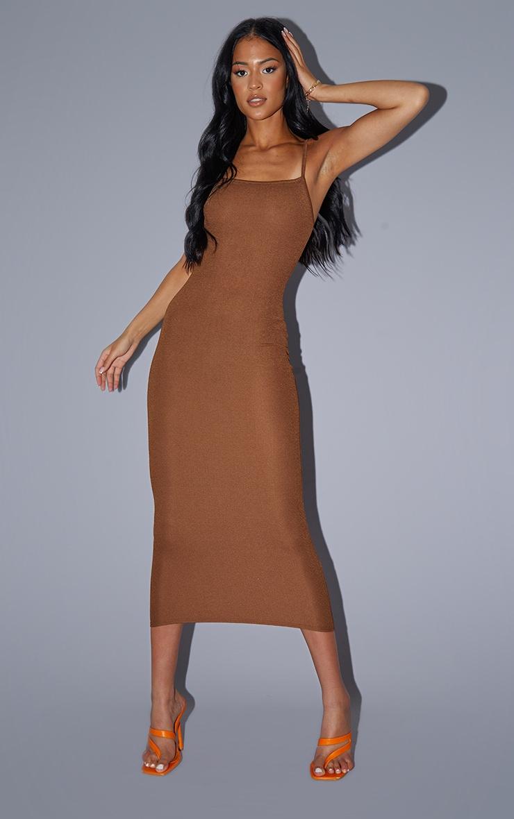 Tall Chocolate Strappy Midi Dress 1