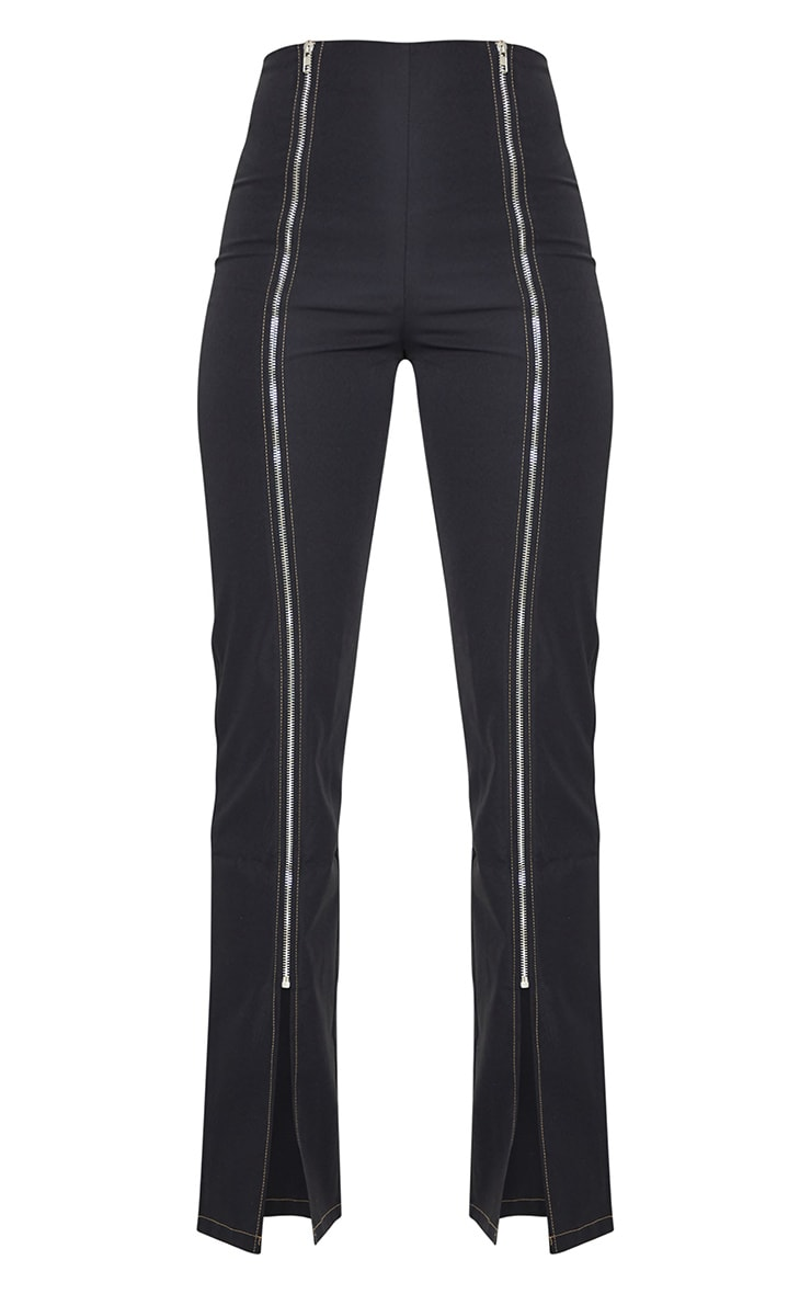Black Zip Detail Contrast Stitch Straight Leg Pants 5