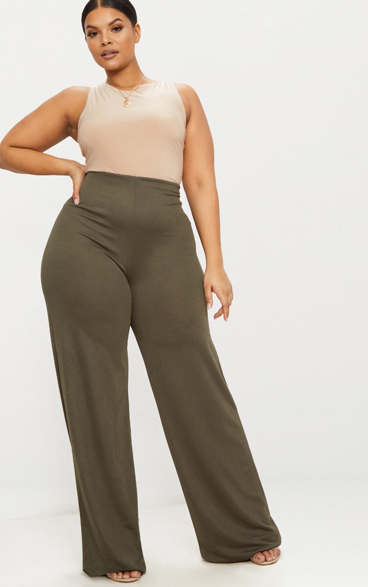 Plus Khaki High Waisted Wide Leg Pants 1