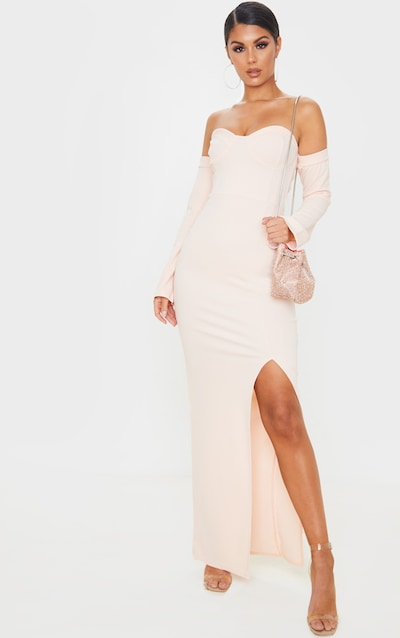 Blush Cup Detail Bardot Sleeve Maxi Dress