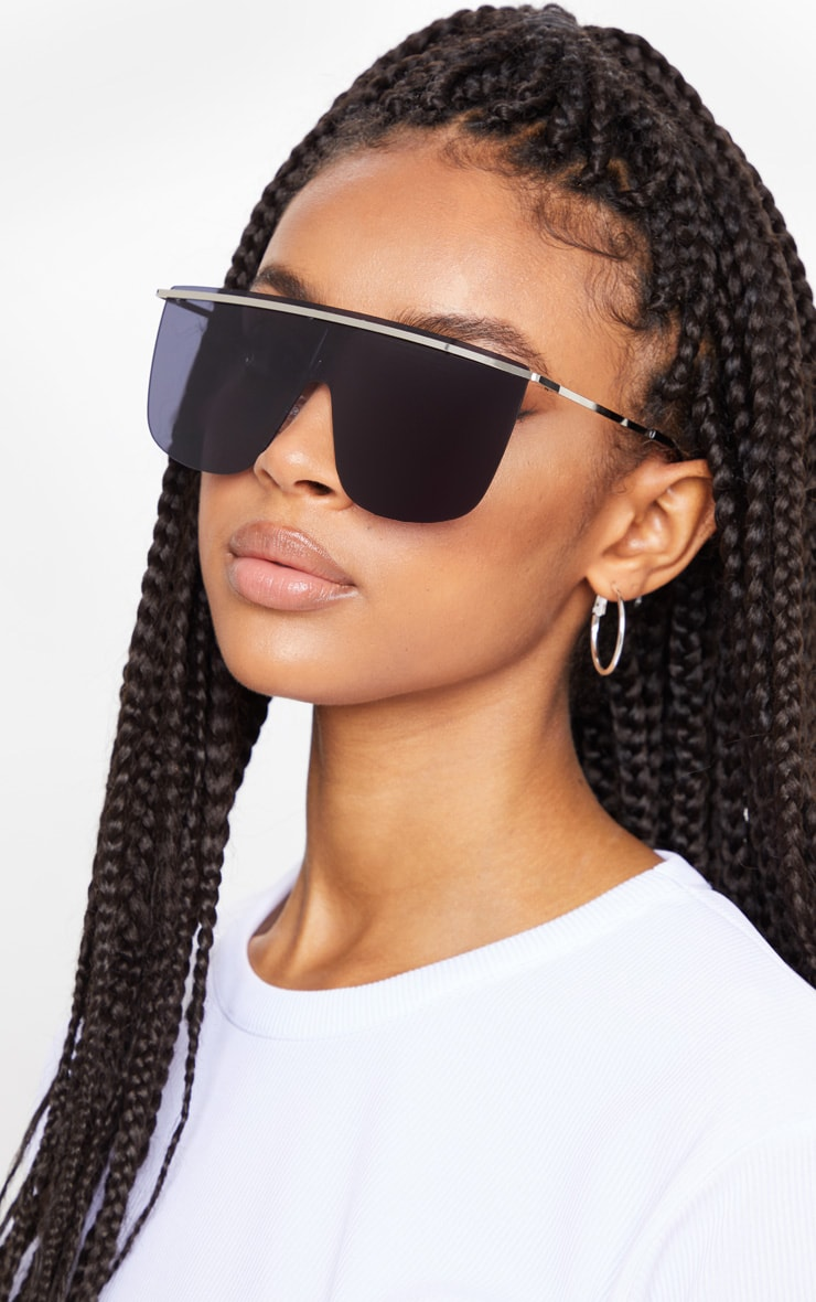 Black Tinted Silver Brow Bar Sunglasses 1