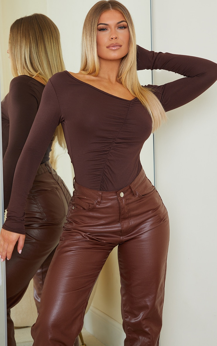 Chocolate Jersey Ruched Asymmetric Long Sleeve Bodysuit 1