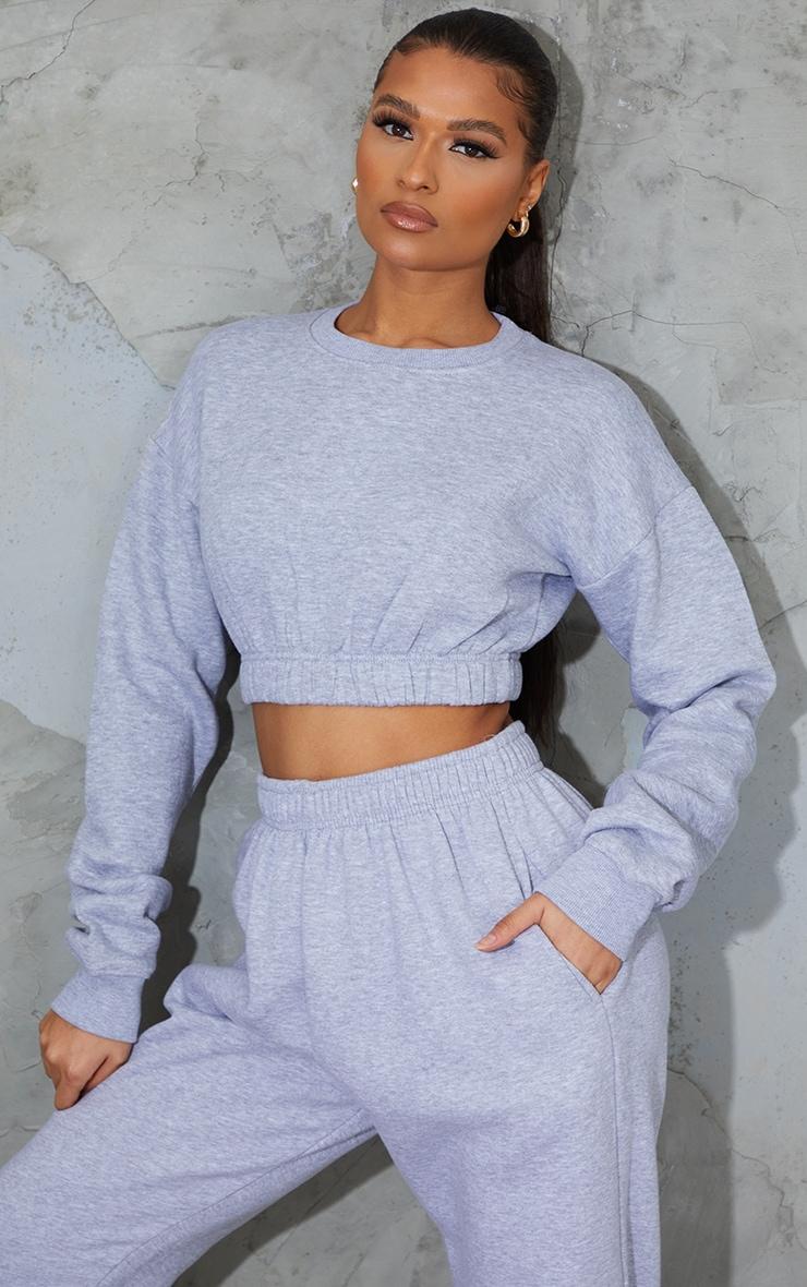 Grey Ruched Hem Cropped Sweatshirt 1
