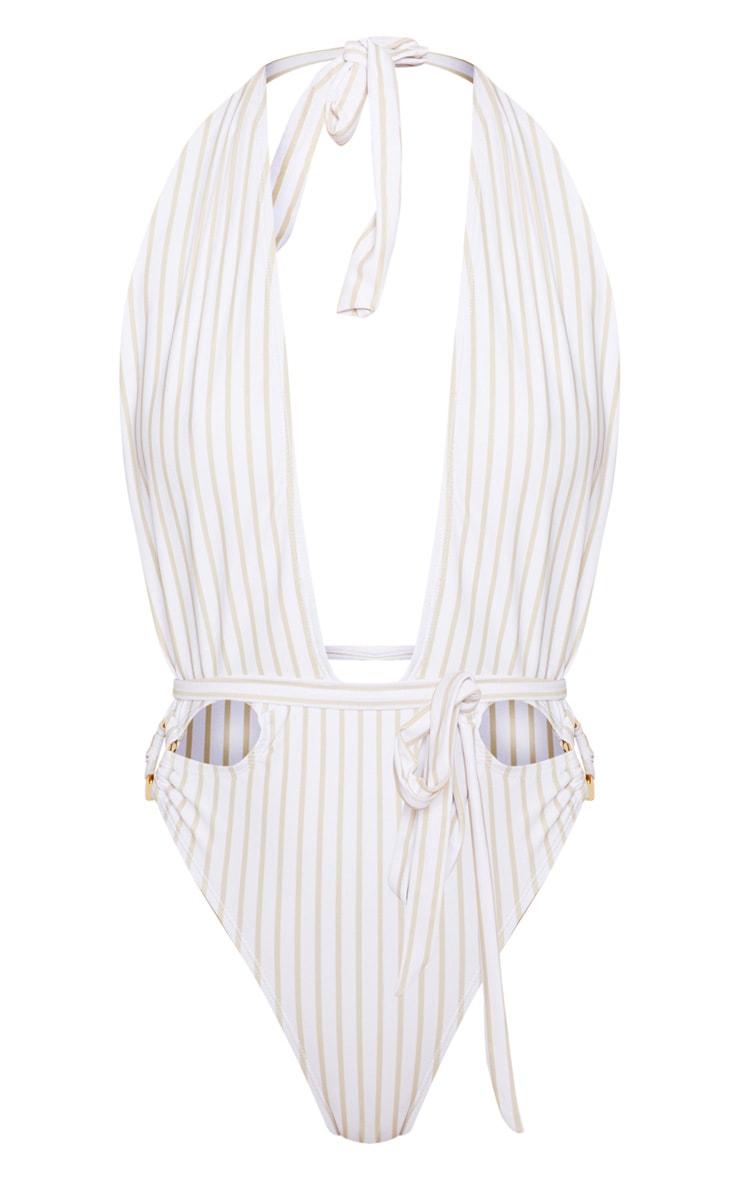 White Halterneck Striped Ring Belted Swimsuit 4