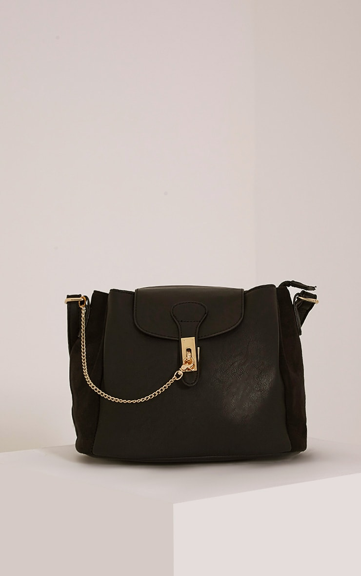 Vara Black Faux Leather Chain Detail Shoulder Bag 1