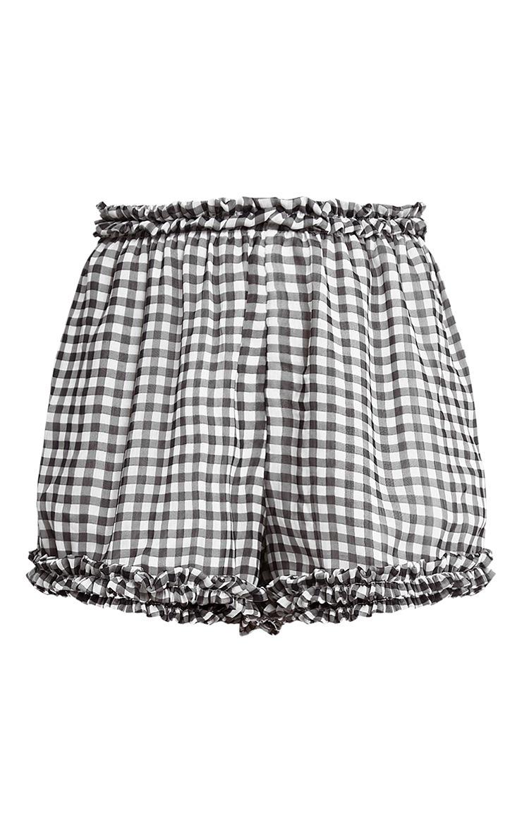 Marylou Black Chiffon Gingham Frill Trim Shorts 3