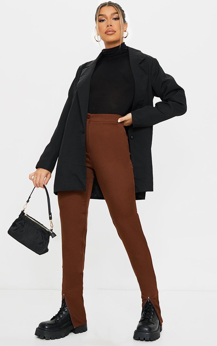 Chocolate Zip Hem Woven Skinny Trousers 1