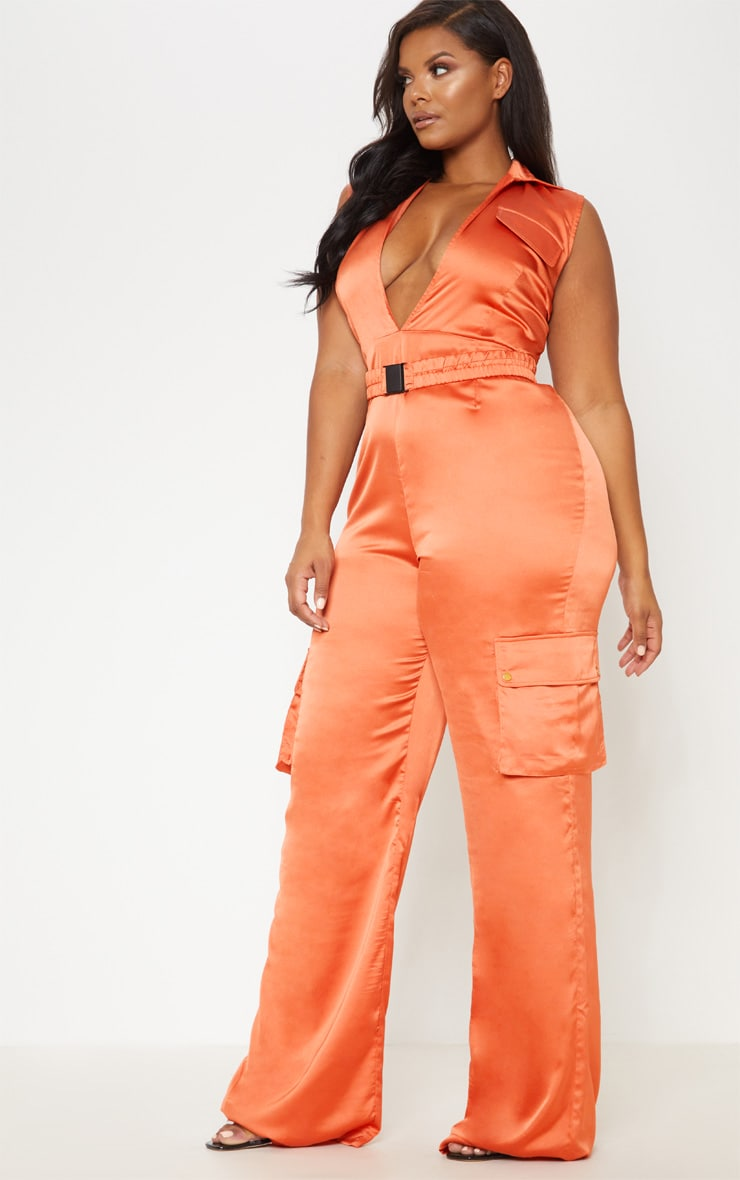 Rust Plunge Utility Pocket Detail Jumpsuit 5