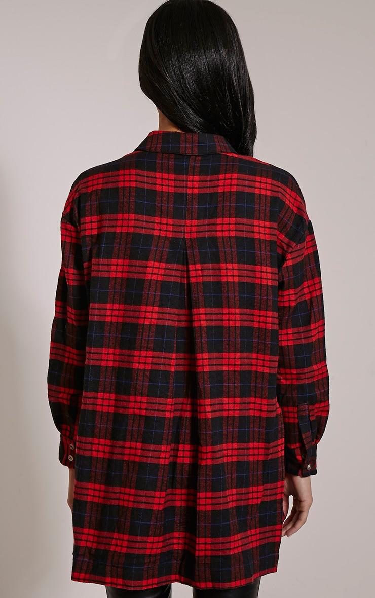 Alier Red Check Oversized Boyfriend Shirt 2